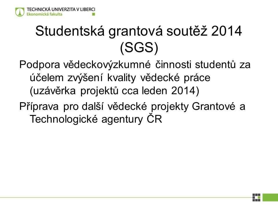 Studentská grantová soutěž 2014 (SGS) Podpora vědeckovýzkumné činnosti studentů za účelem zvýšení kvality vědecké práce (uzávěrka projektů cca leden 2014) Příprava pro další vědecké projekty Grantové a Technologické agentury ČR