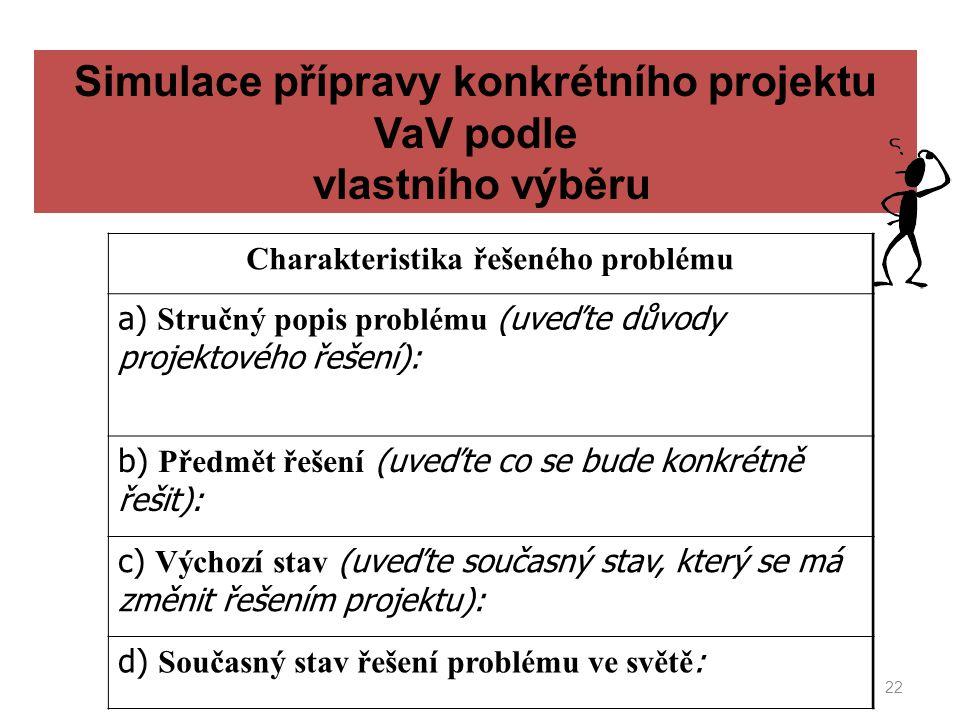 22 Simulace přípravy konkrétního projektu VaV podle vlastního výběru Charakteristika řešeného problému a) Stručný popis problému (uveďte důvody projek