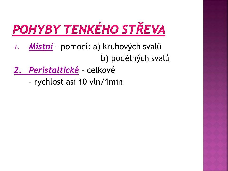 1. Místní – pomocí: a) kruhových svalů b) podélných svalů 2. Peristaltické – celkové - rychlost asi 10 vln/1min