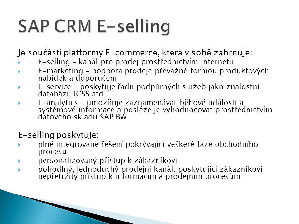Je součástí platformy E-commerce, která v sobě zahrnuje:  E-selling – kanál pro prodej prostřednictvím internetu  E-marketing – podpora prodeje přev