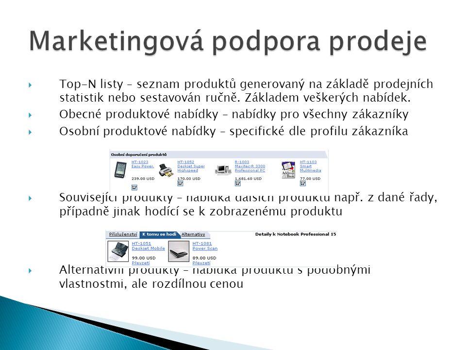  Top-N listy – seznam produktů generovaný na základě prodejních statistik nebo sestavován ručně. Základem veškerých nabídek.  Obecné produktové nabí