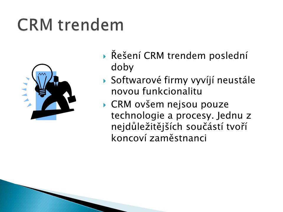  Řešení CRM trendem poslední doby  Softwarové firmy vyvíjí neustále novou funkcionalitu  CRM ovšem nejsou pouze technologie a procesy. Jednu z nejd