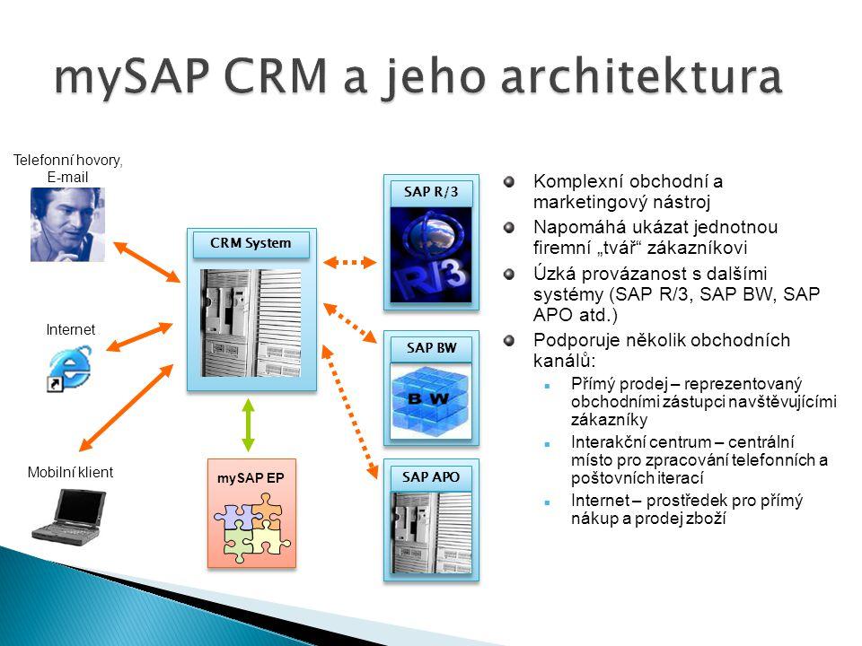 CRM System SAP R/3 SAP BW SAP APO mySAP EP Telefonní hovory, E-mail Internet Mobilní klient Komplexní obchodní a marketingový nástroj Napomáhá ukázat