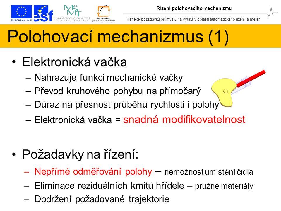 Reflexe požadavků průmyslu na výuku v oblasti automatického řízení a měření Řízení polohovacího mechanizmu Polohovací mechanizmus (1) Elektronická vačka –Nahrazuje funkci mechanické vačky –Převod kruhového pohybu na přímočarý –Důraz na přesnost průběhu rychlosti i polohy –Elektronická vačka = snadná modifikovatelnost Požadavky na řízení: –Nepřímé odměřování polohy – nemožnost umístění čidla –Eliminace reziduálních kmitů hřídele – pružné materiály –Dodržení požadované trajektorie