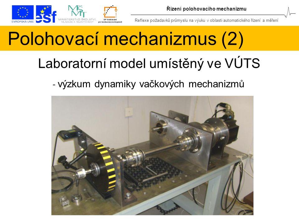 Reflexe požadavků průmyslu na výuku v oblasti automatického řízení a měření Řízení polohovacího mechanizmu Polohovací mechanizmus (2) Laboratorní model umístěný ve VÚTS - výzkum dynamiky vačkových mechanizmů