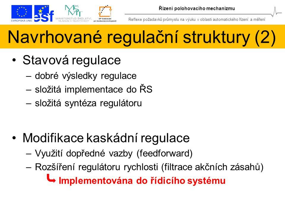 Reflexe požadavků průmyslu na výuku v oblasti automatického řízení a měření Řízení polohovacího mechanizmu Navrhované regulační struktury (2) Stavová regulace –dobré výsledky regulace –složitá implementace do ŘS –složitá syntéza regulátoru Modifikace kaskádní regulace –Využití dopředné vazby (feedforward) –Rozšíření regulátoru rychlosti (filtrace akčních zásahů) Implementována do řídicího systému