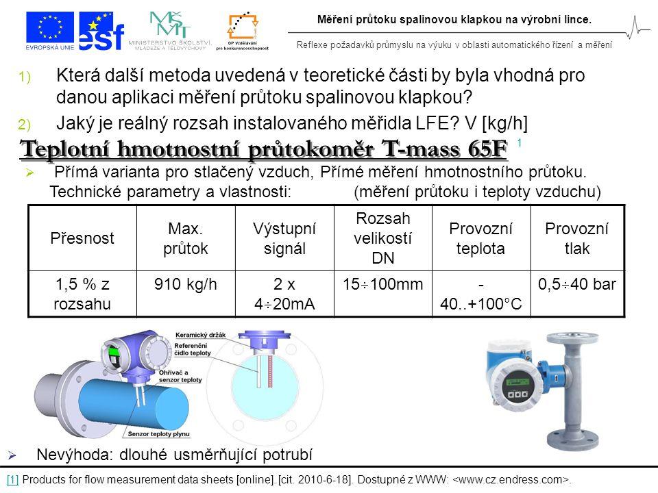 Reflexe požadavků průmyslu na výuku v oblasti automatického řízení a měření Měření průtoku spalinovou klapkou na výrobní lince. 1) Která další metoda