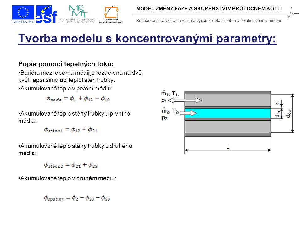 Reflexe požadavků průmyslu na výuku v oblasti automatického řízení a měření Tvorba modelu s koncentrovanými parametry: Popis pomocí tepelných toků: Bariéra mezi oběma médii je rozdělena na dvě, kvůli lepší simulaci teplot stěn trubky.