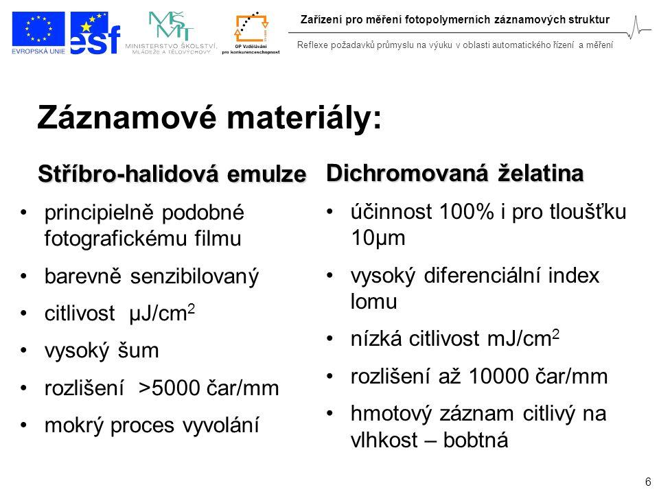Reflexe požadavků průmyslu na výuku v oblasti automatického řízení a měření 6 Zařízení pro měření fotopolymerních záznamových struktur Záznamové mater