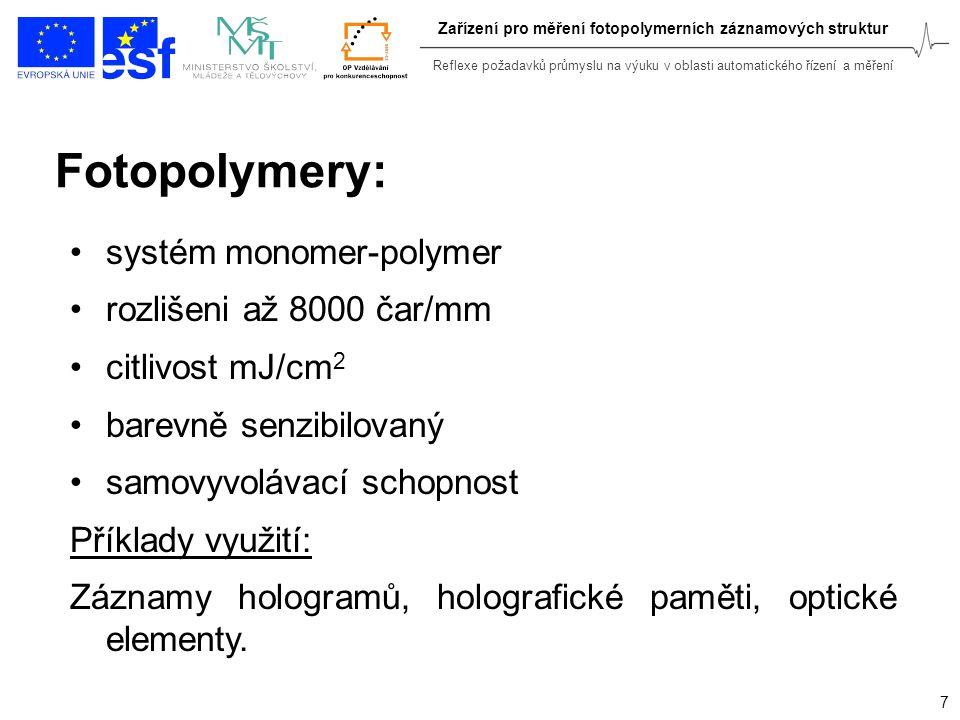 Reflexe požadavků průmyslu na výuku v oblasti automatického řízení a měření 7 Zařízení pro měření fotopolymerních záznamových struktur Fotopolymery: s