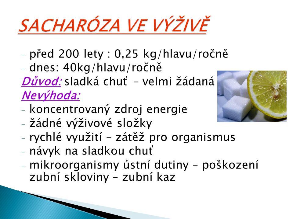 - před 200 lety : 0,25 kg/hlavu/ročně - dnes: 40kg/hlavu/ročně Důvod: sladká chuť – velmi žádaná Nevýhoda: - koncentrovaný zdroj energie - žádné výživ