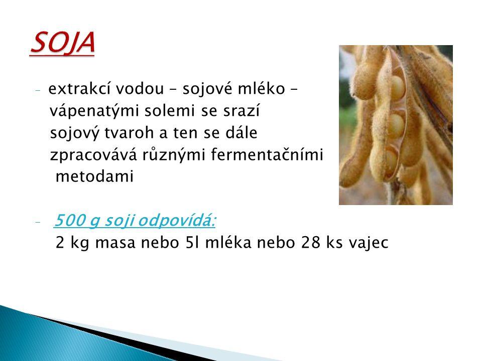- extrakcí vodou – sojové mléko – vápenatými solemi se srazí sojový tvaroh a ten se dále zpracovává různými fermentačními metodami - 500 g soji odpoví