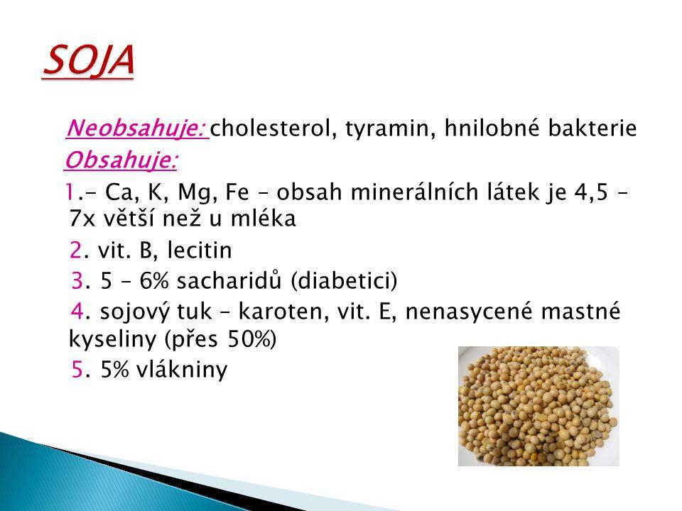 Neobsahuje: cholesterol, tyramin, hnilobné bakterie Obsahuje: 1.- Ca, K, Mg, Fe – obsah minerálních látek je 4,5 – 7x větší než u mléka 2. vit. B, lec