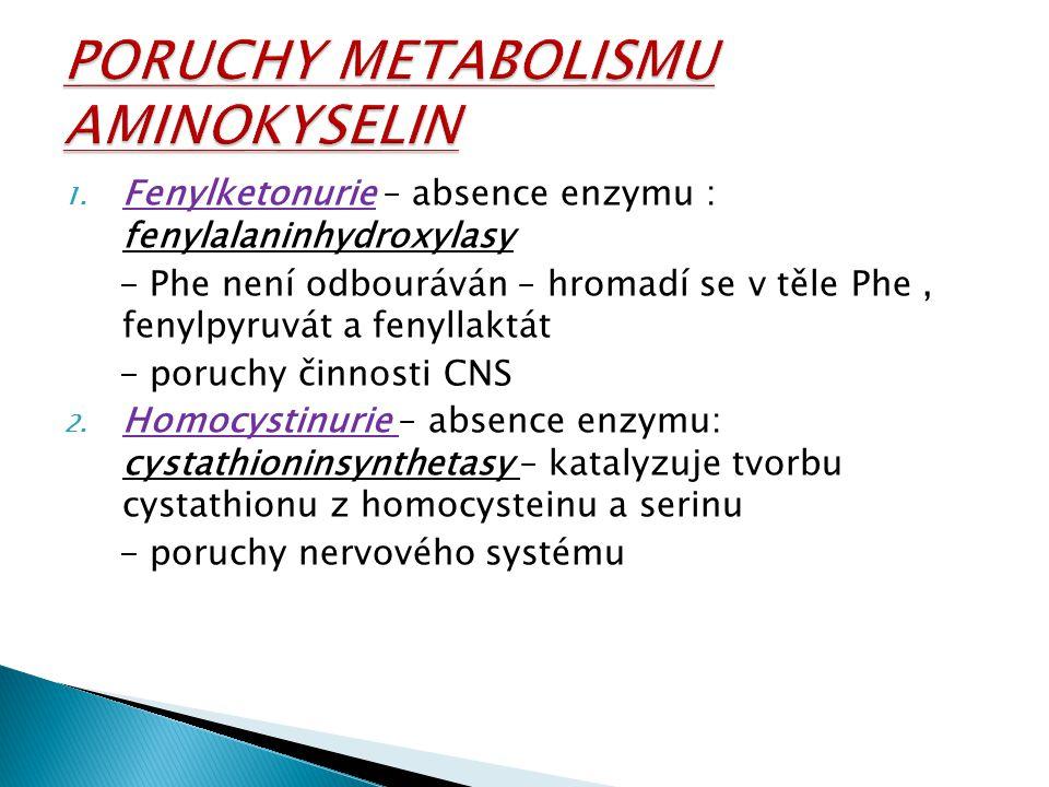 1. Fenylketonurie – absence enzymu : fenylalaninhydroxylasy - Phe není odbouráván – hromadí se v těle Phe, fenylpyruvát a fenyllaktát - poruchy činnos
