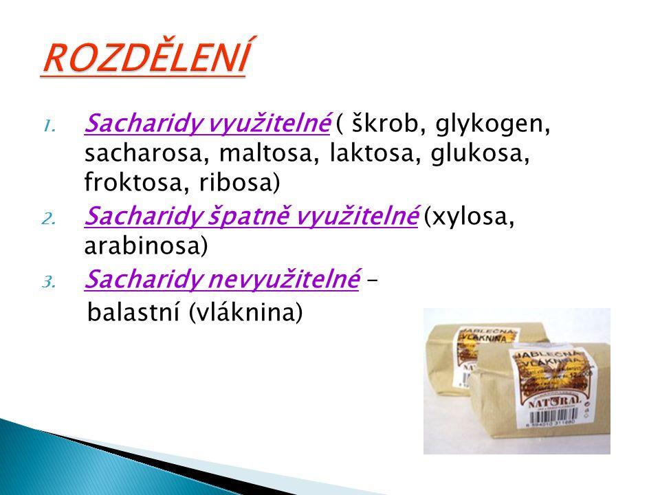 1. Sacharidy využitelné ( škrob, glykogen, sacharosa, maltosa, laktosa, glukosa, froktosa, ribosa) 2. Sacharidy špatně využitelné (xylosa, arabinosa)