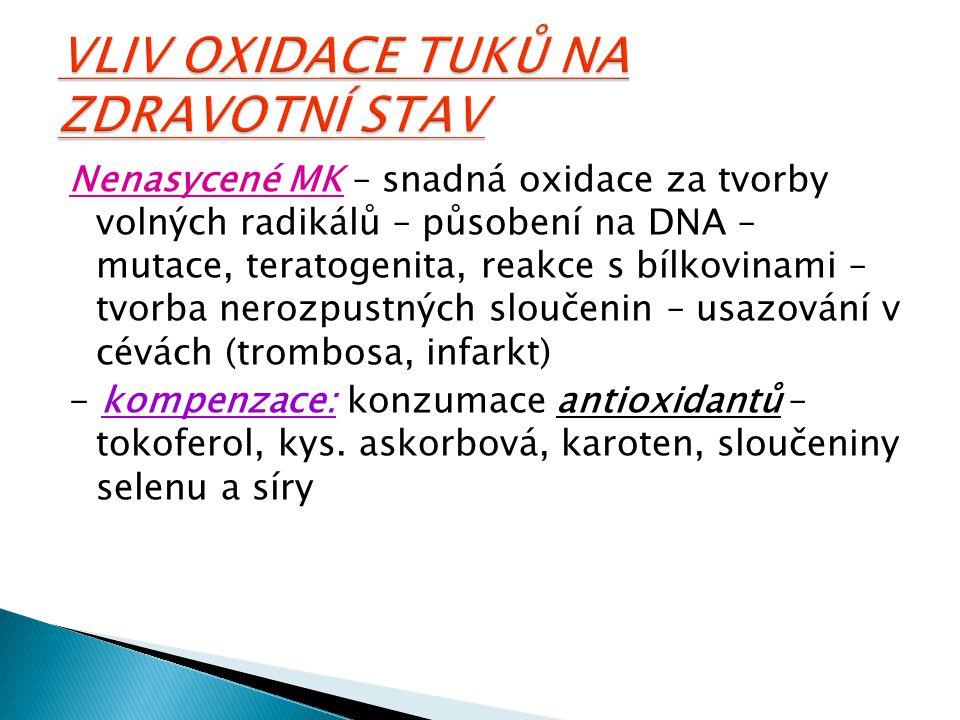 Nenasycené MK – snadná oxidace za tvorby volných radikálů – působení na DNA – mutace, teratogenita, reakce s bílkovinami – tvorba nerozpustných slouče
