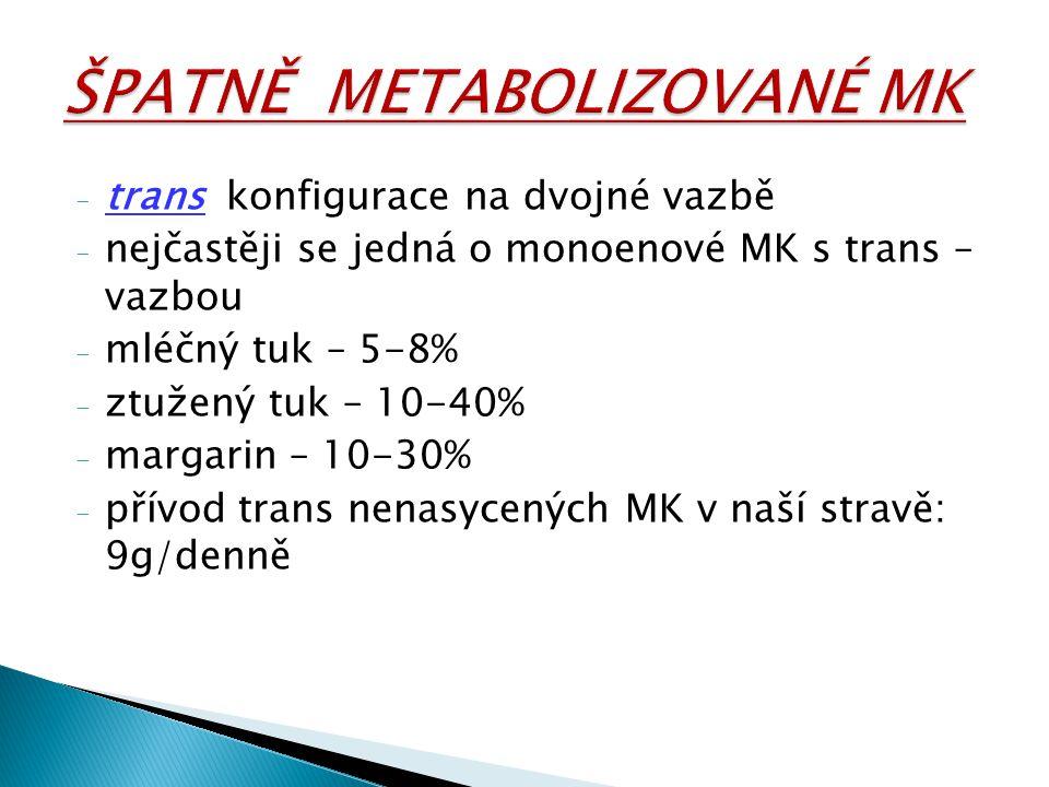 - trans konfigurace na dvojné vazbě - nejčastěji se jedná o monoenové MK s trans – vazbou - mléčný tuk – 5-8% - ztužený tuk – 10-40% - margarin – 10-3