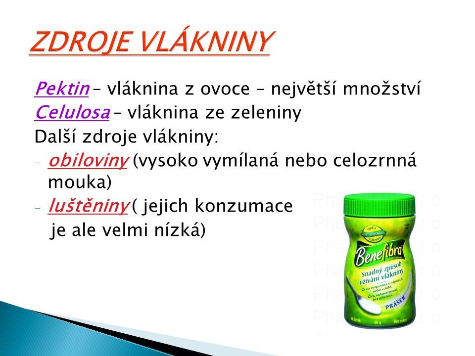 Pektin – vláknina z ovoce – největší množství Celulosa – vláknina ze zeleniny Další zdroje vlákniny: - obiloviny (vysoko vymílaná nebo celozrnná mouka