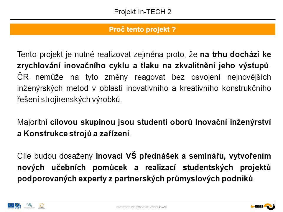 Zaměření projektu INVESTICE DO ROZVOJE VZDĚLÁVÁNÍ Projektu je zaměřen na inovaci studijního programu ve smyslu progresivních metod řízení inovačního procesu a rozvoje tvůrčího potenciálu studentů (jako např.