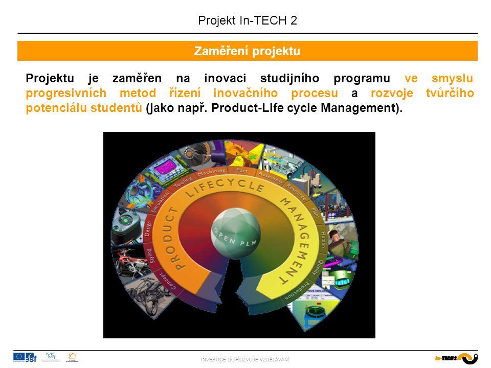 Inovovaný a komplexnější obsah výuky INVESTICE DO ROZVOJE VZDĚLÁVÁNÍ Projekt In-TECH 2 PRODUKT PROCES Tvorba konceptu Průmyslový design Lean Design DFX…) Prototyping Simulace a experimenty Návrh procesu Trénink pracovníků Řízení jakosti Řízení projektu Změnové řízení PLM CAD, CAE … Návrh pracoviště Ergonomie