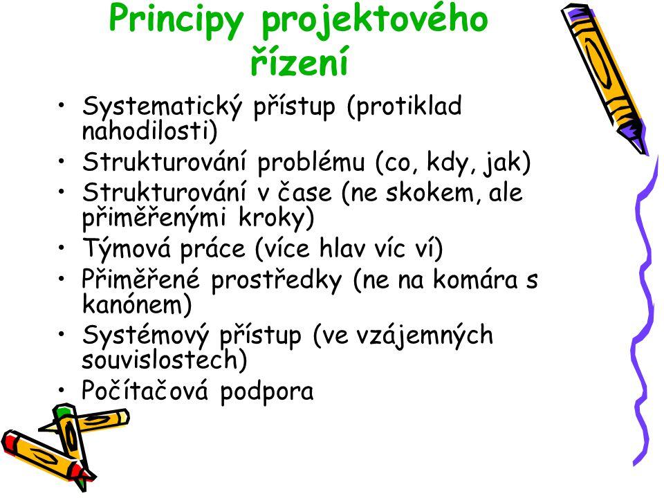 Principy projektového řízení Systematický přístup (protiklad nahodilosti) Strukturování problému (co, kdy, jak) Strukturování v čase (ne skokem, ale p