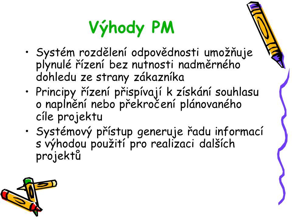 Výhody PM Systém rozdělení odpovědnosti umožňuje plynulé řízení bez nutnosti nadměrného dohledu ze strany zákazníka Principy řízení přispívají k získá
