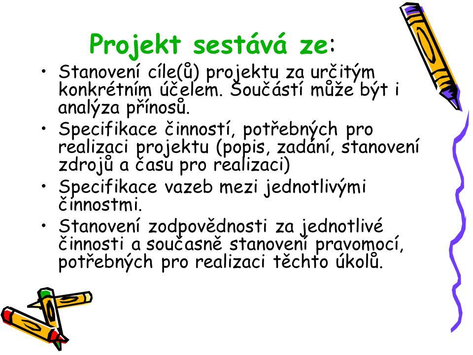 Projekt sestává ze: Stanovení cíle(ů) projektu za určitým konkrétním účelem. Součástí může být i analýza přínosů. Specifikace činností, potřebných pro