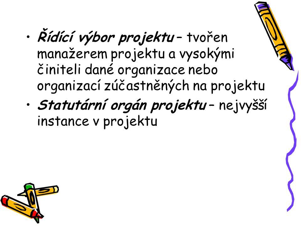 Řídící výbor projektu – tvořen manažerem projektu a vysokými činiteli dané organizace nebo organizací zúčastněných na projektu Statutární orgán projek