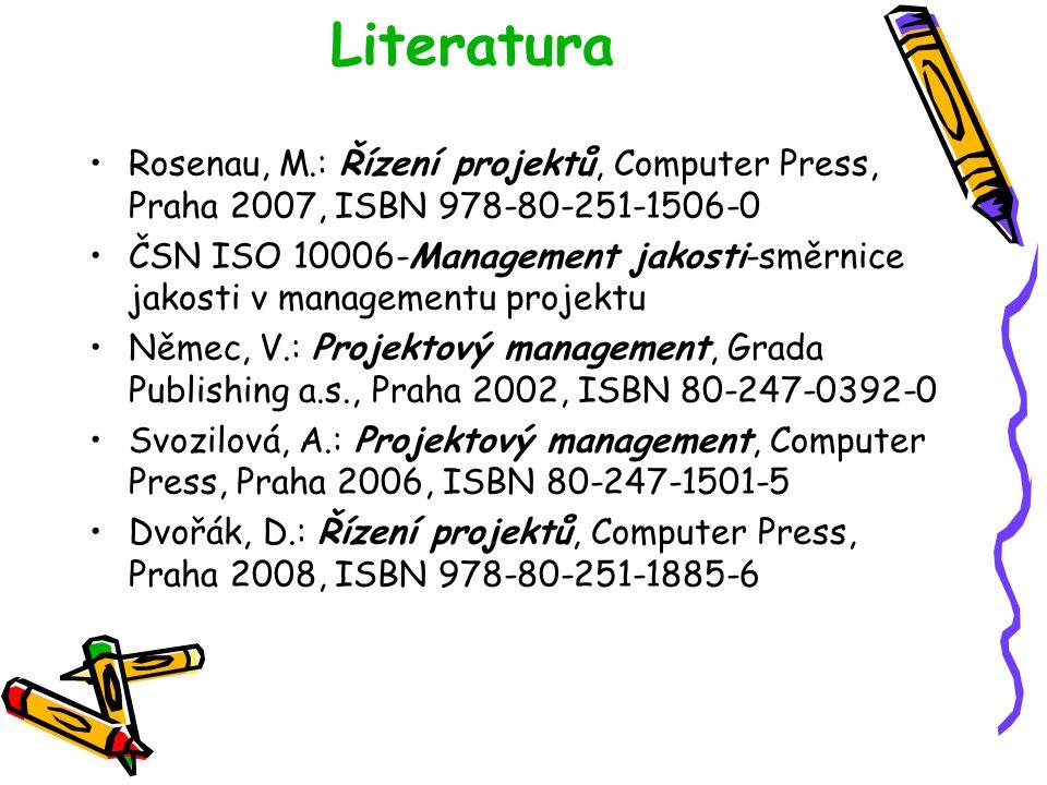 Literatura Rosenau, M.: Řízení projektů, Computer Press, Praha 2007, ISBN 978-80-251-1506-0 ČSN ISO 10006-Management jakosti-směrnice jakosti v manage