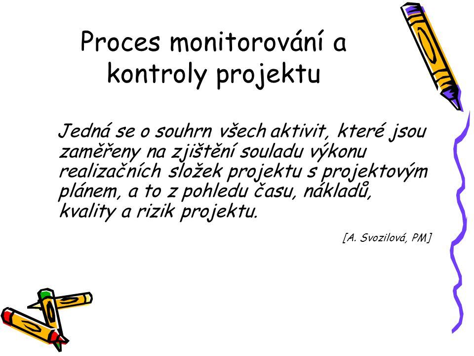 Proces monitorování a kontroly projektu Jedná se o souhrn všech aktivit, které jsou zaměřeny na zjištění souladu výkonu realizačních složek projektu s