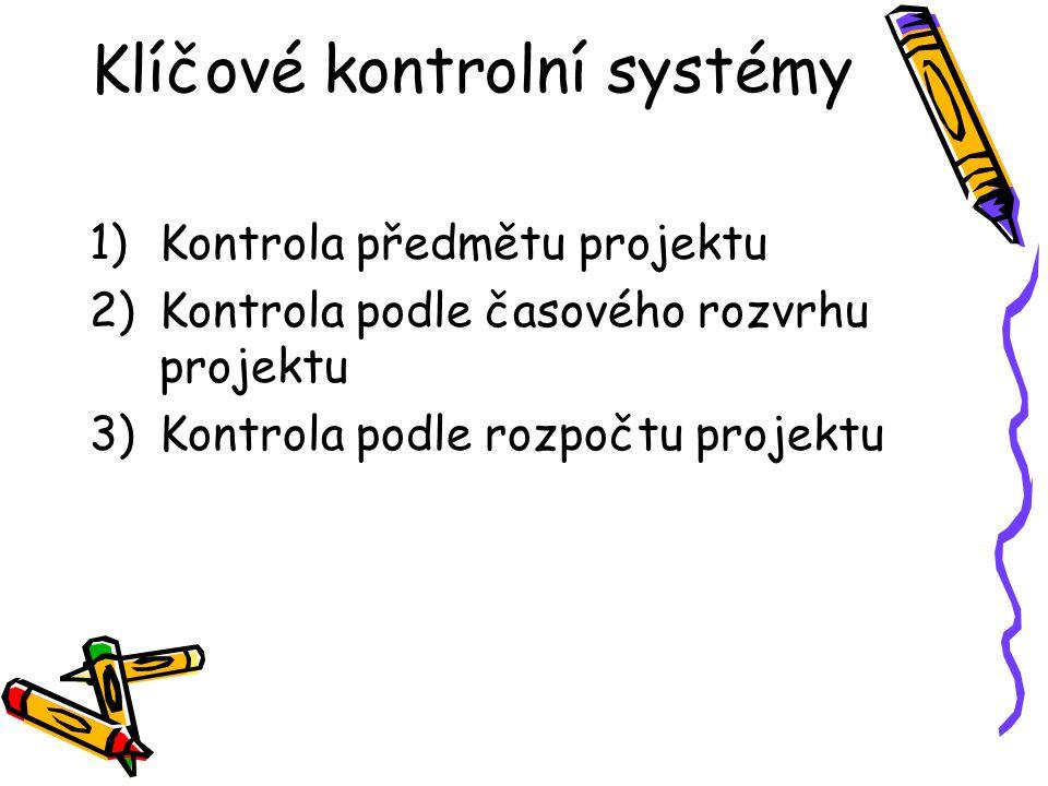 Klíčové kontrolní systémy 1)Kontrola předmětu projektu 2)Kontrola podle časového rozvrhu projektu 3)Kontrola podle rozpočtu projektu