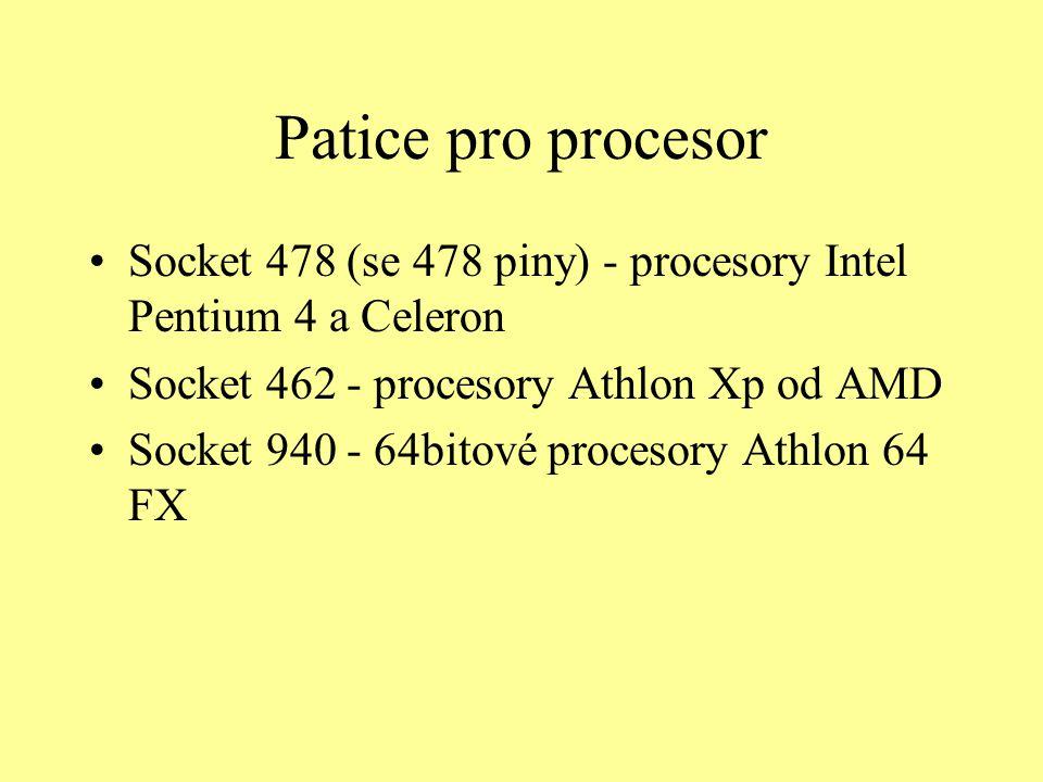 Patice pro procesor Socket 478 (se 478 piny) - procesory Intel Pentium 4 a Celeron Socket 462 - procesory Athlon Xp od AMD Socket 940 - 64bitové proce