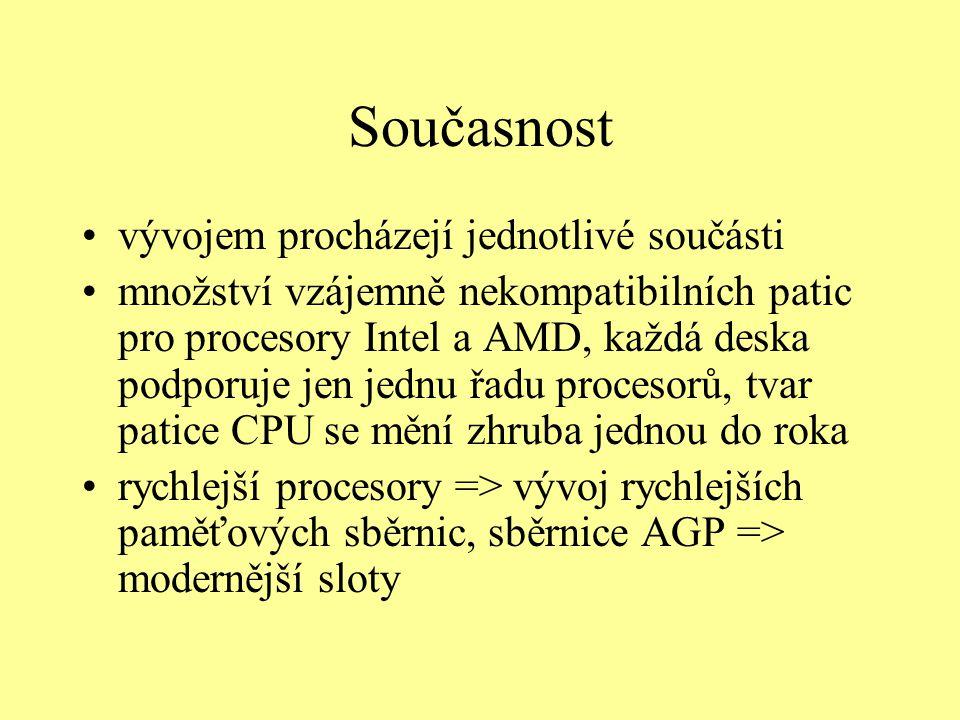 Současnost vývojem procházejí jednotlivé součásti množství vzájemně nekompatibilních patic pro procesory Intel a AMD, každá deska podporuje jen jednu