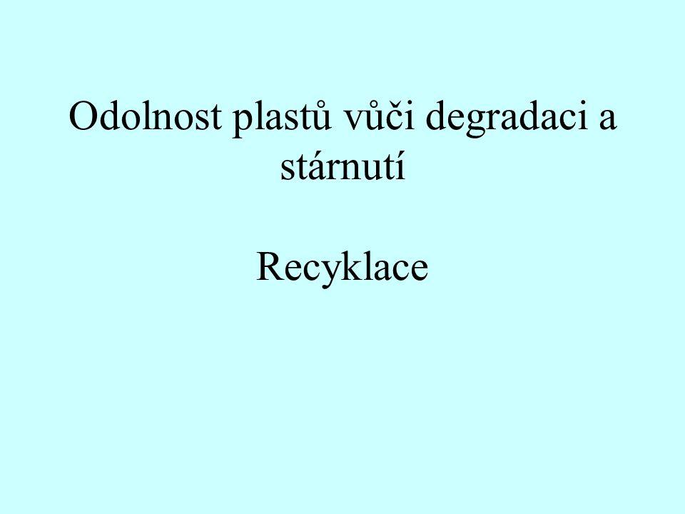 Znehodnocování, stárnutí, koroze, porušování, degradace Chemismus autooxidace Vznik volného radikálu (iniciace)-----Reakce volného radikálu s kyslíkem (propagace)------- přenos řetězce, vznik hydroperoxidu-------- opakující se reakce volného radikálu s kyslíkem Komerčně vyráběné polymery vždy obsahují zbytky katalyzátorů a funkční skupiny, jako hydroperoxidy a ketony, vzniklé při výrobě či zpracování, které senzibilizují termo- a fotooxidaci.