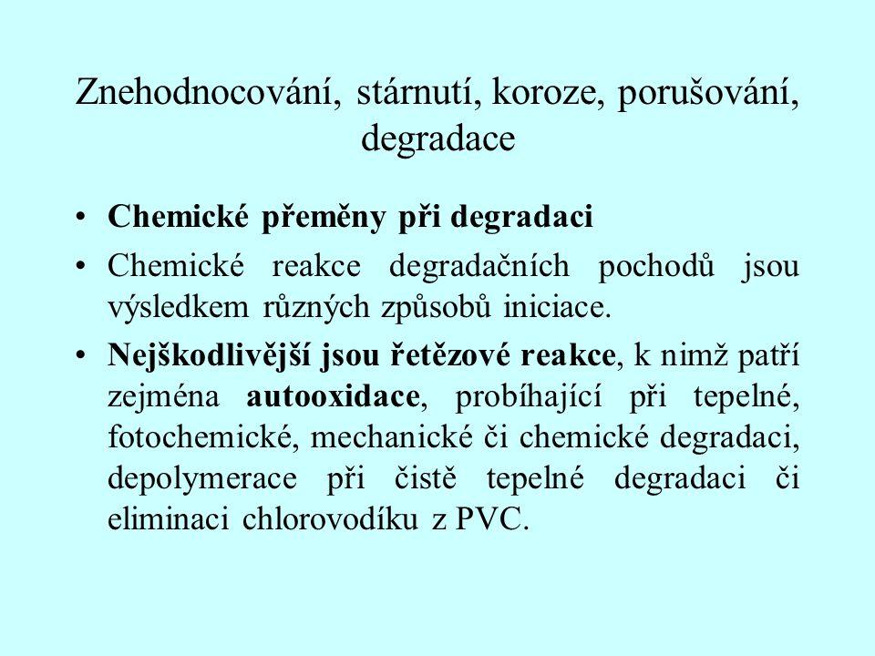Znehodnocování, stárnutí, koroze, porušování, degradace Chemické přeměny při degradaci Chemické reakce degradačních pochodů jsou výsledkem různých způ