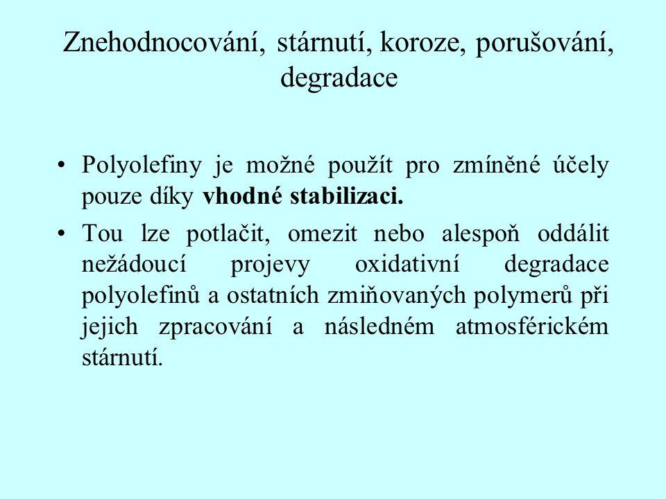 Znehodnocování, stárnutí, koroze, porušování, degradace Polyolefiny je možné použít pro zmíněné účely pouze díky vhodné stabilizaci. Tou lze potlačit,