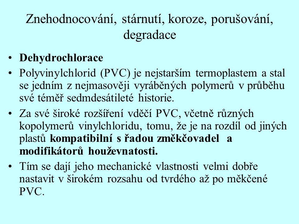 Znehodnocování, stárnutí, koroze, porušování, degradace Dehydrochlorace Polyvinylchlorid (PVC) je nejstarším termoplastem a stal se jedním z nejmasově