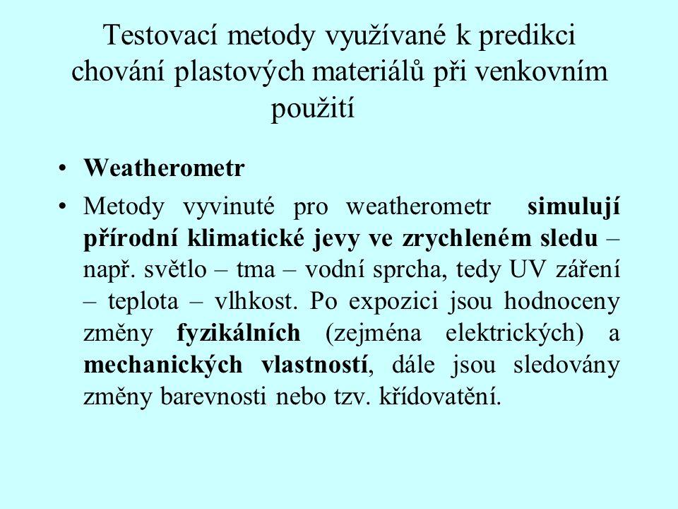 Testovací metody využívané k predikci chování plastových materiálů při venkovním použití Weatherometr Metody vyvinuté pro weatherometr simulují přírod