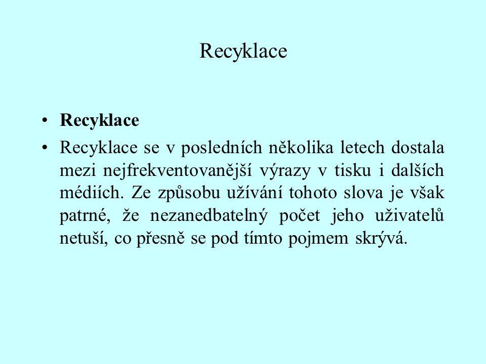 Recyklace Recyklace se v posledních několika letech dostala mezi nejfrekventovanější výrazy v tisku i dalších médiích. Ze způsobu užívání tohoto slova
