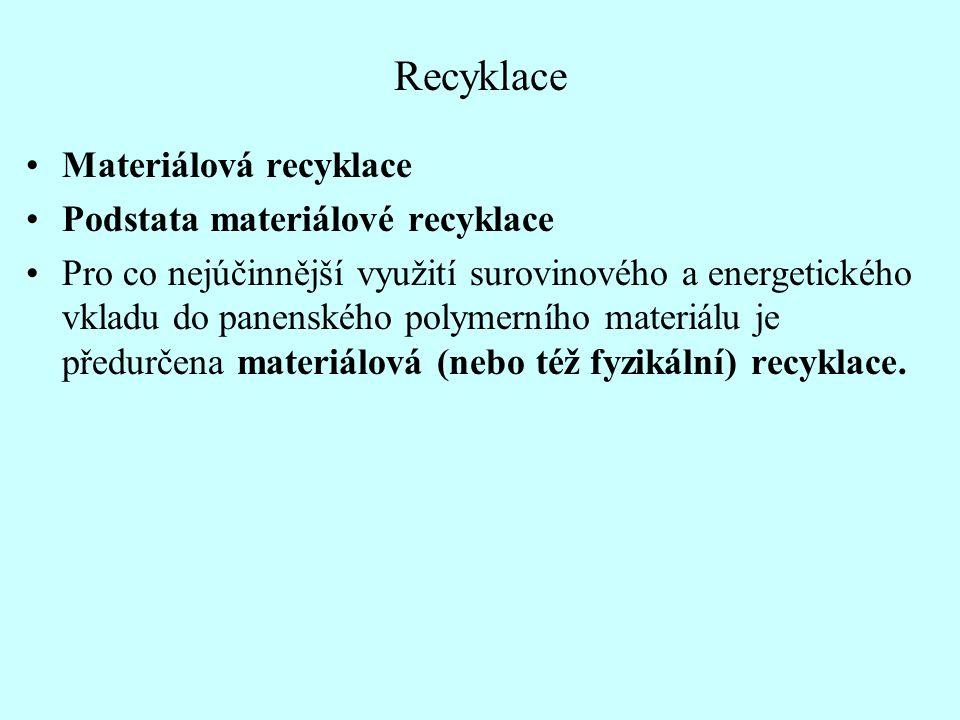 Recyklace Materiálová recyklace Podstata materiálové recyklace Pro co nejúčinnější využití surovinového a energetického vkladu do panenského polymerní