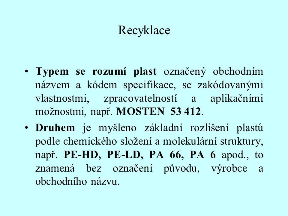 Recyklace Typem se rozumí plast označený obchodním názvem a kódem specifikace, se zakódovanými vlastnostmi, zpracovatelností a aplikačními možnostmi,