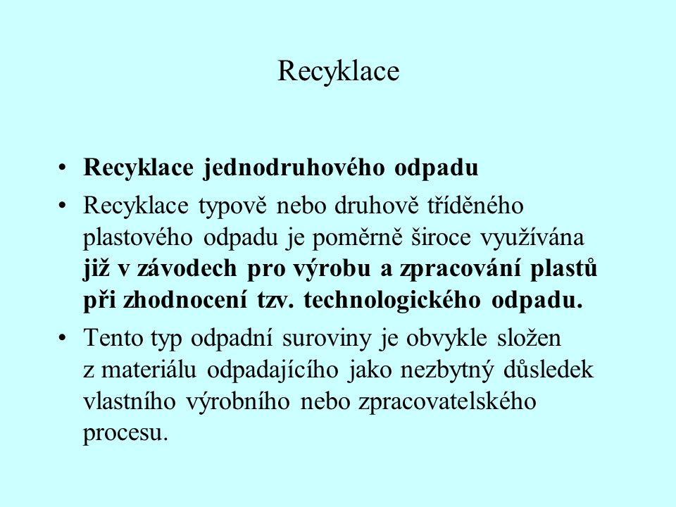 Recyklace Recyklace jednodruhového odpadu Recyklace typově nebo druhově tříděného plastového odpadu je poměrně široce využívána již v závodech pro výr