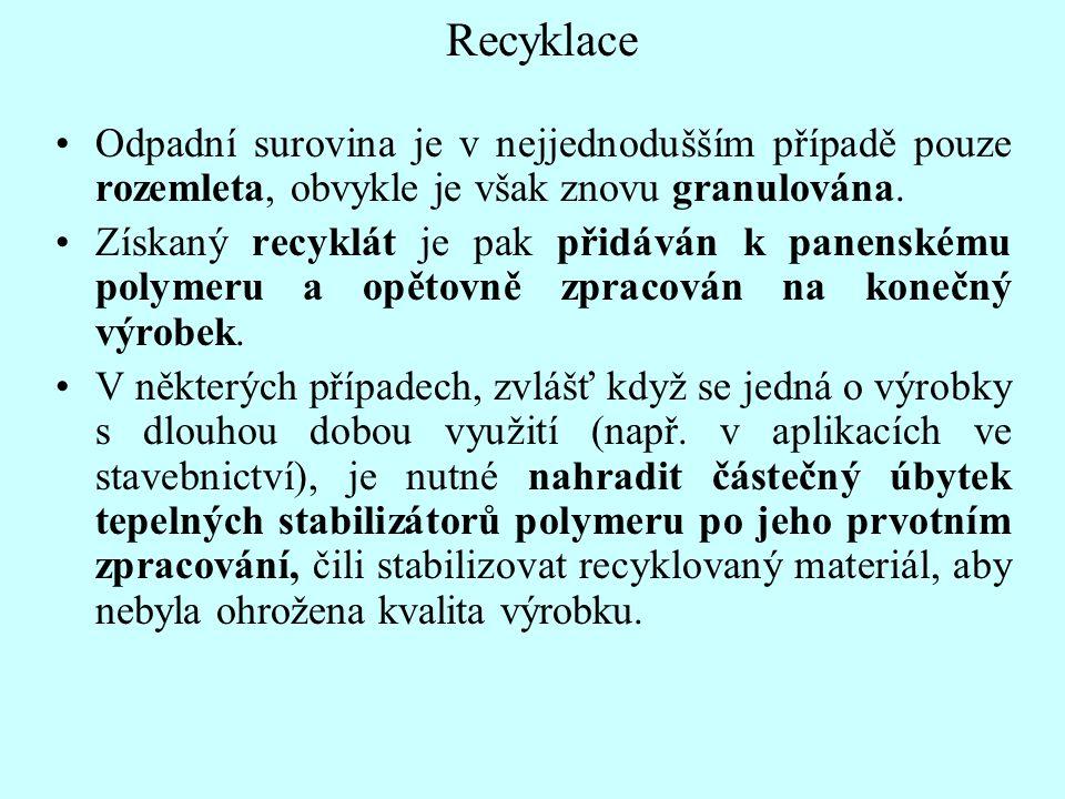 Recyklace Odpadní surovina je v nejjednodušším případě pouze rozemleta, obvykle je však znovu granulována. Získaný recyklát je pak přidáván k panenské