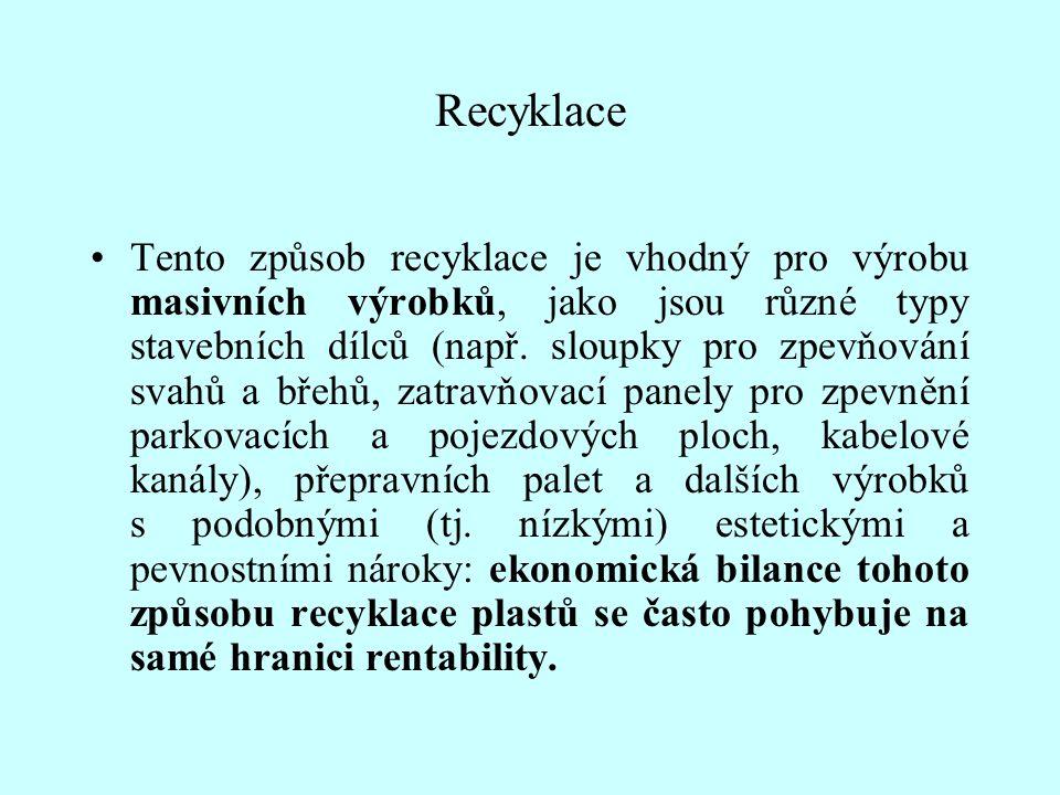 Recyklace Tento způsob recyklace je vhodný pro výrobu masivních výrobků, jako jsou různé typy stavebních dílců (např. sloupky pro zpevňování svahů a b
