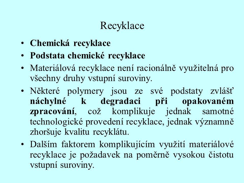 Recyklace Chemická recyklace Podstata chemické recyklace Materiálová recyklace není racionálně využitelná pro všechny druhy vstupní suroviny. Některé
