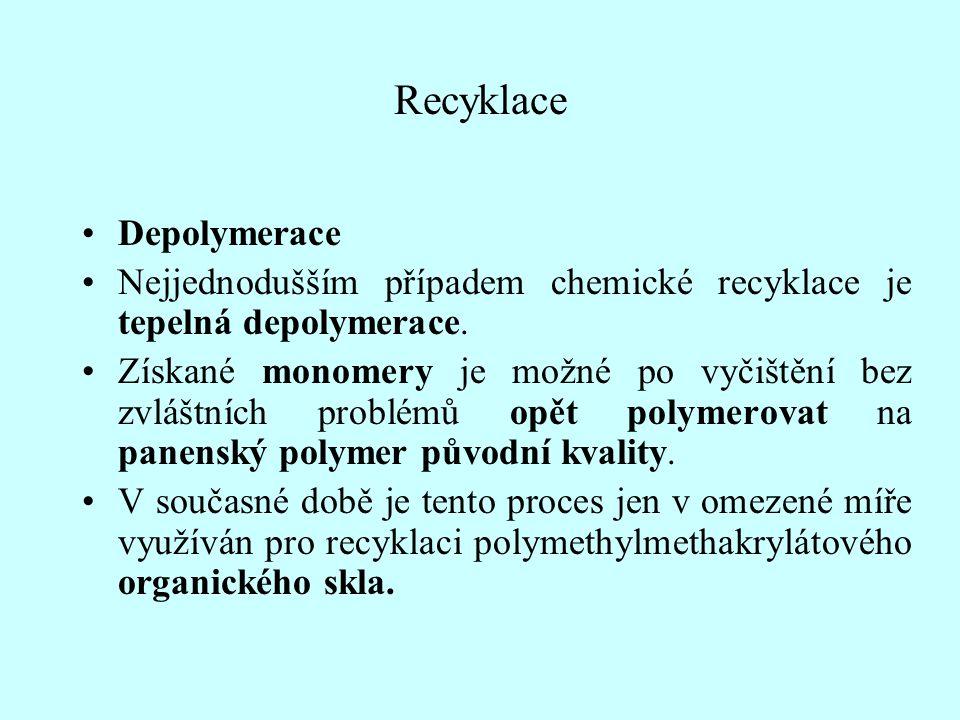 Recyklace Depolymerace Nejjednodušším případem chemické recyklace je tepelná depolymerace. Získané monomery je možné po vyčištění bez zvláštních probl