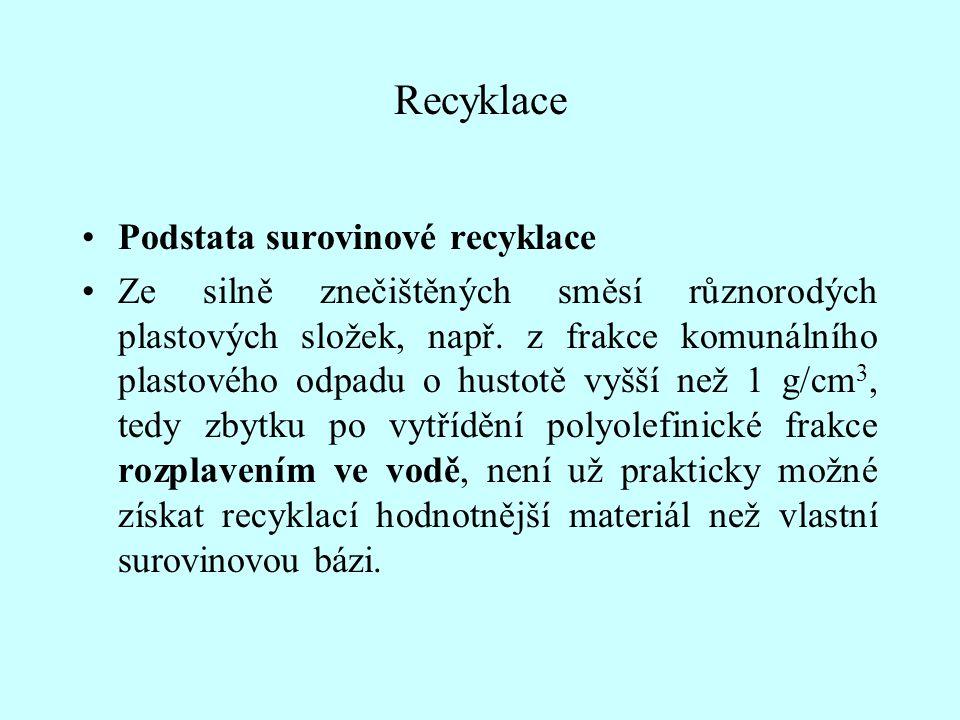 Recyklace Podstata surovinové recyklace Ze silně znečištěných směsí různorodých plastových složek, např. z frakce komunálního plastového odpadu o hust