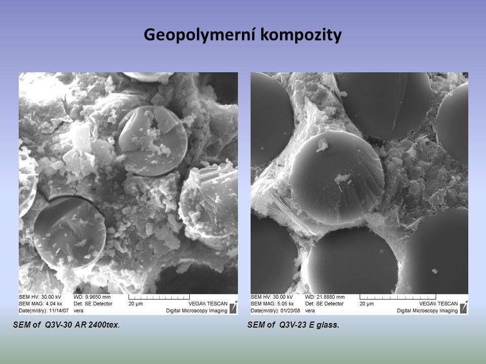 SEM of Q3V-30 AR 2400tex. SEM of Q3V-23 E glass. Geopolymerní kompozity