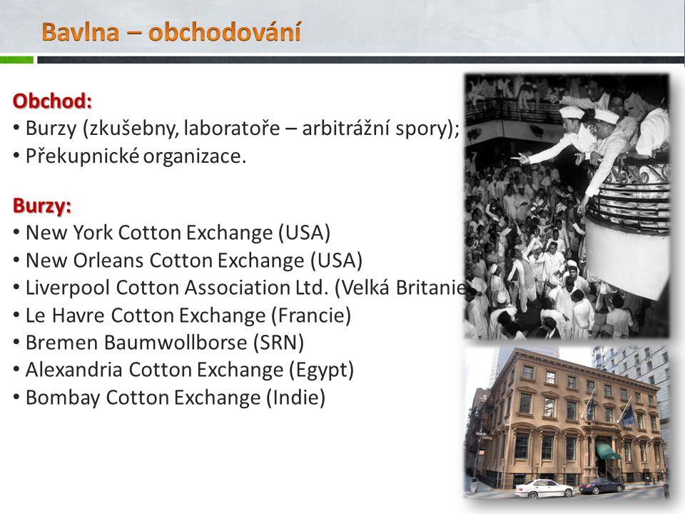 Obchod: Burzy (zkušebny, laboratoře – arbitrážní spory); Překupnické organizace.