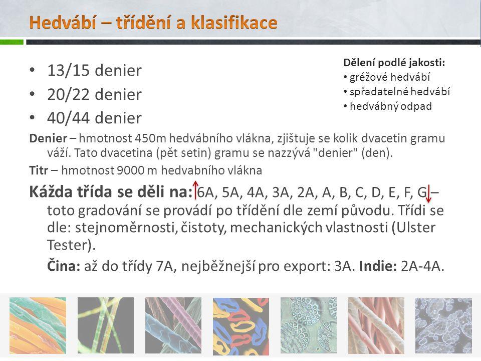 13/15 denier 20/22 denier 40/44 denier Denier – hmotnost 450m hedvábního vlákna, zjištuje se kolik dvacetin gramu váží.